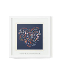 Heart flowers illustrated artwork made up of fynbos by Lauren Fowler