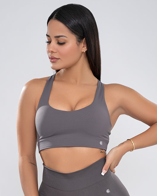 The Cross-Back Bra | GRAY