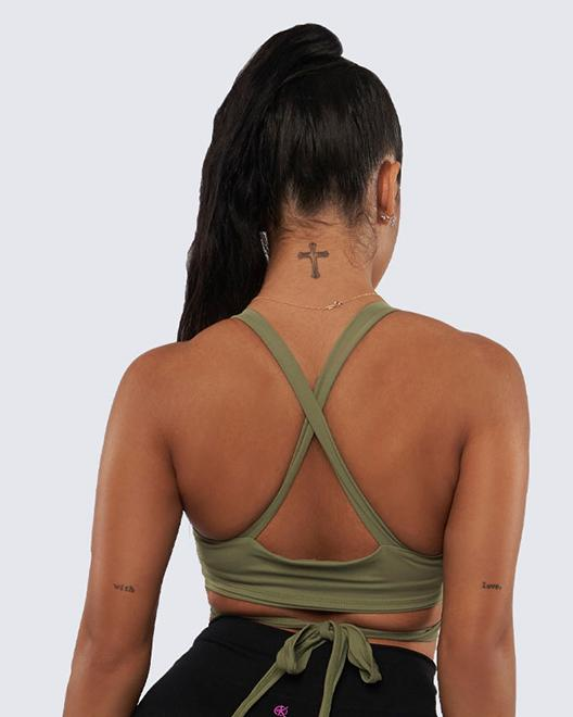 Ballet Bra Top - Olive Green