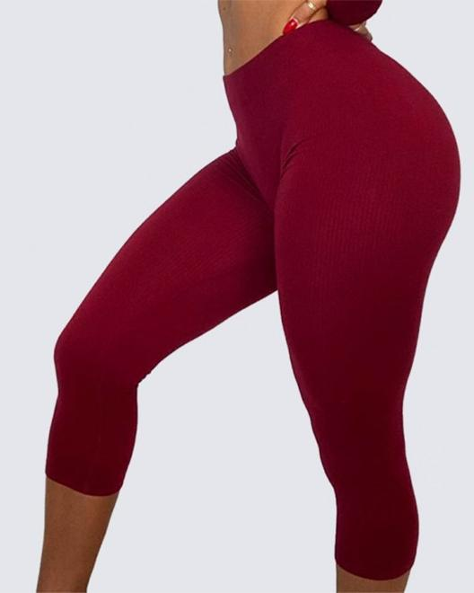 Classic Ribbed Leggings | BURGUNDY HAZE