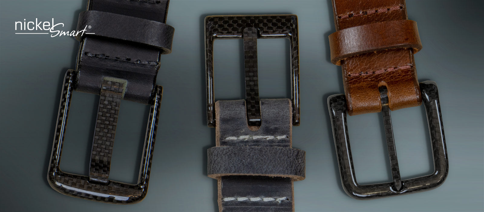 Carbon Fiber Buckles sewn onto genuine leather straps.  No Metal in these belts. Will not set off metal detectors.