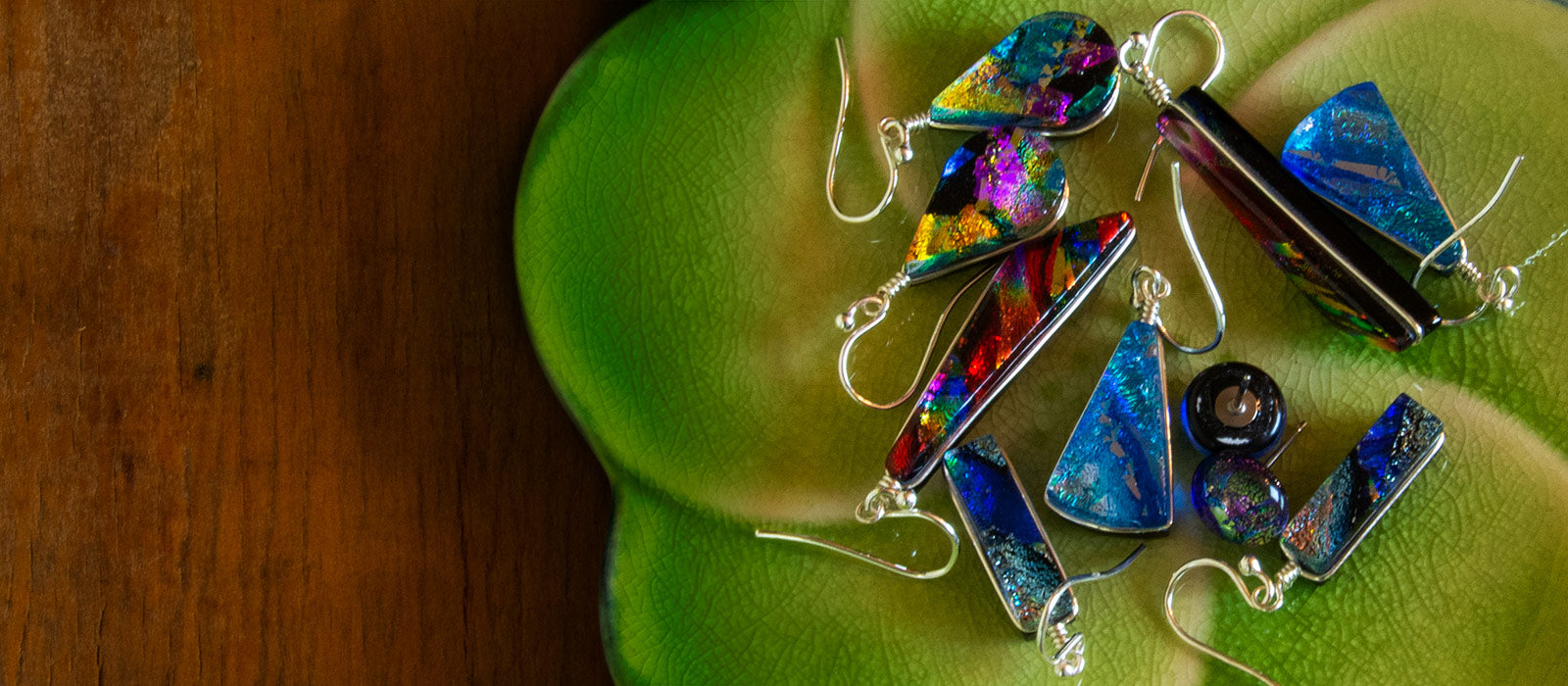 Nickel free dichroic glass earrings. Safe to wear for gold,  cobalt and nickel allergies.