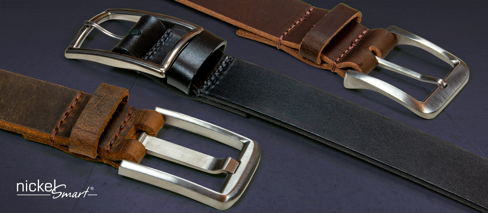 Titanium buckles sewn onto genuines leather straps.  Best choice for Nickel allergy and other metal allergies
