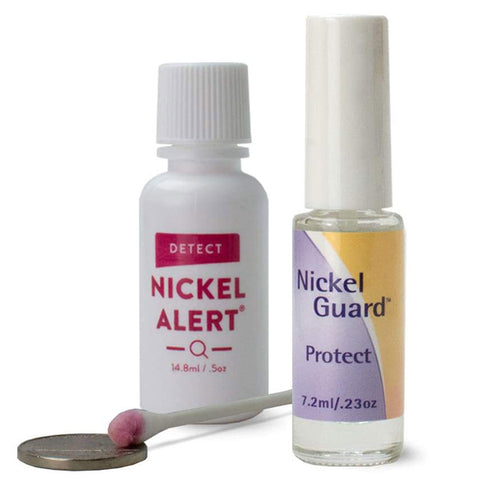 Nickel Alert tests for nickel in metal items. Nickel Guard is a barrier coating.