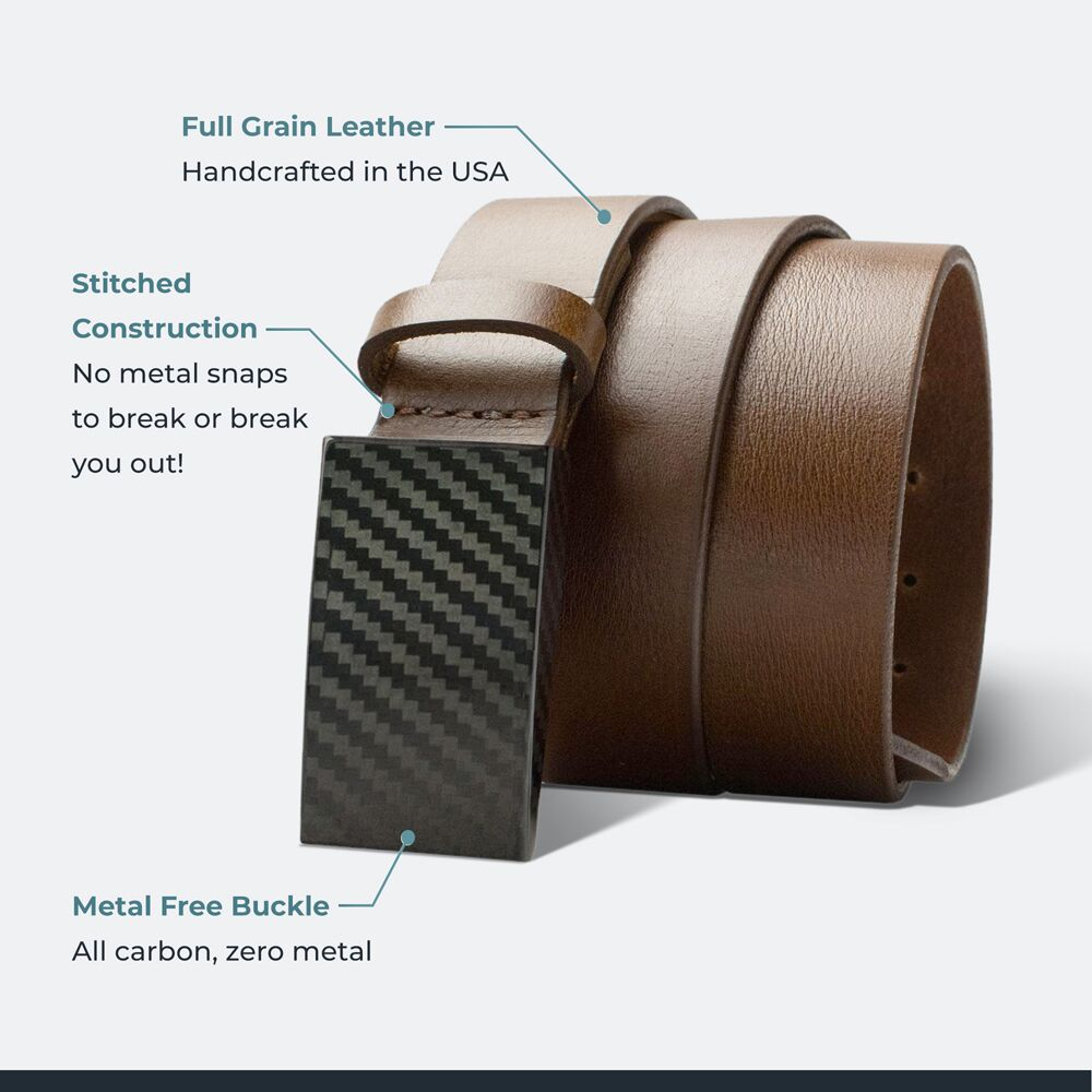 CF 2.0 Brown Belt By Nickel Smart® | Nonickel.com, full grain leather