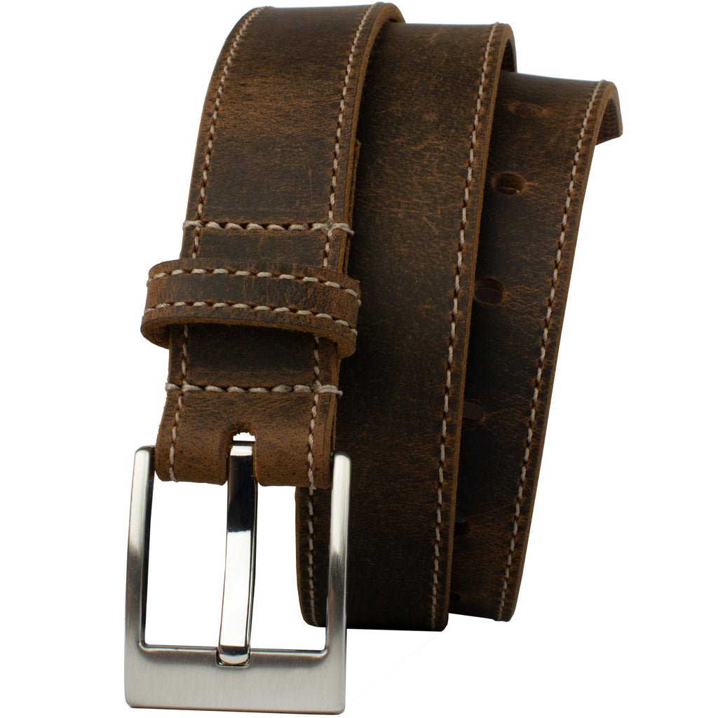 Caraway Mountain Distressed Brown Leather Belt (stitched) by Nickel Smart, nonickel.com, nickel free