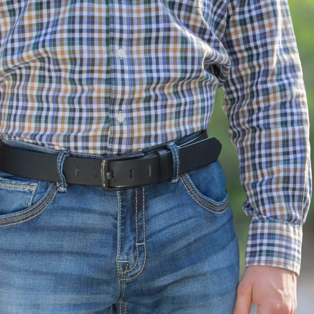 Carbon Fiber Wide Pin Belt - carbon fiber buckle sewn to genuine leather. No Metal. TSA Friendly