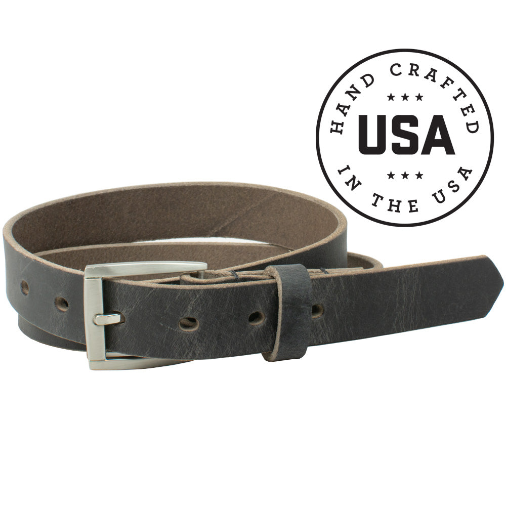 Child's Smoky Mountain Distressed Leather Belt by Nickel Smart - nonickel.com, made in the USA