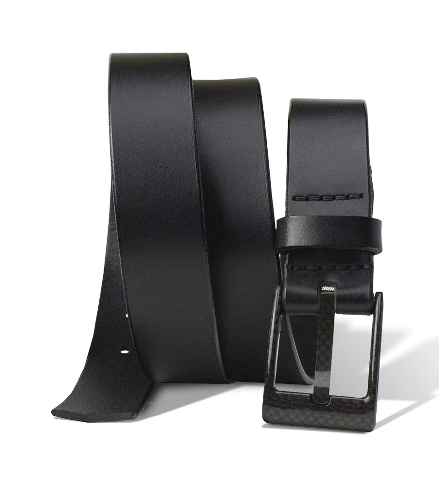 The Classified Black Leather Belt By Nickel Smart® | Nonickel.com, nickel free, carbon fiber
