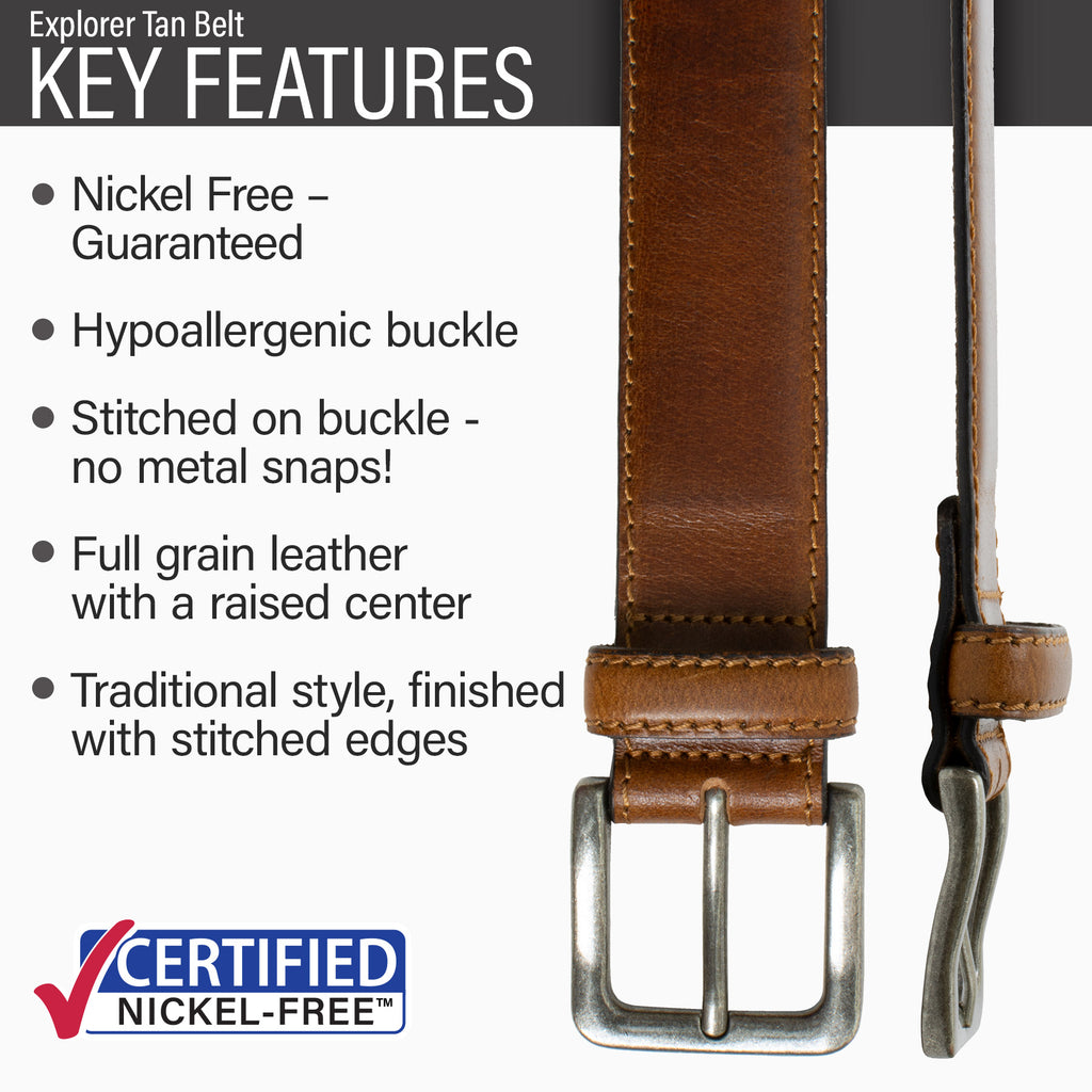Key features of Explorer Nickel Free Brown Leather Belt | Hypoallergenic buckle, stitched on nickel-free buckle, tan full grain leather, traditional style