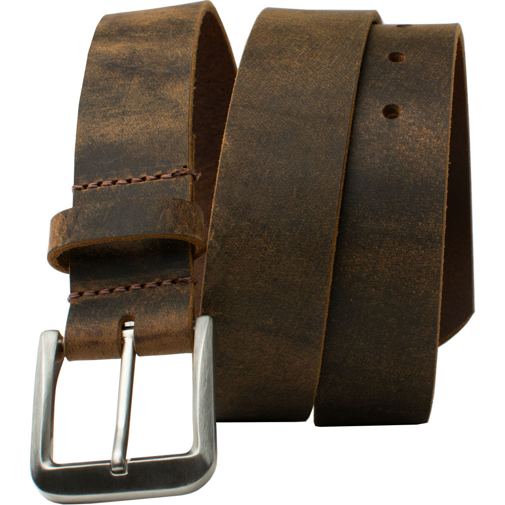 Mt. Pisgah Titanium Distressed Leather Belt By Nickel Smart® | Nonickel.com, genuine leather