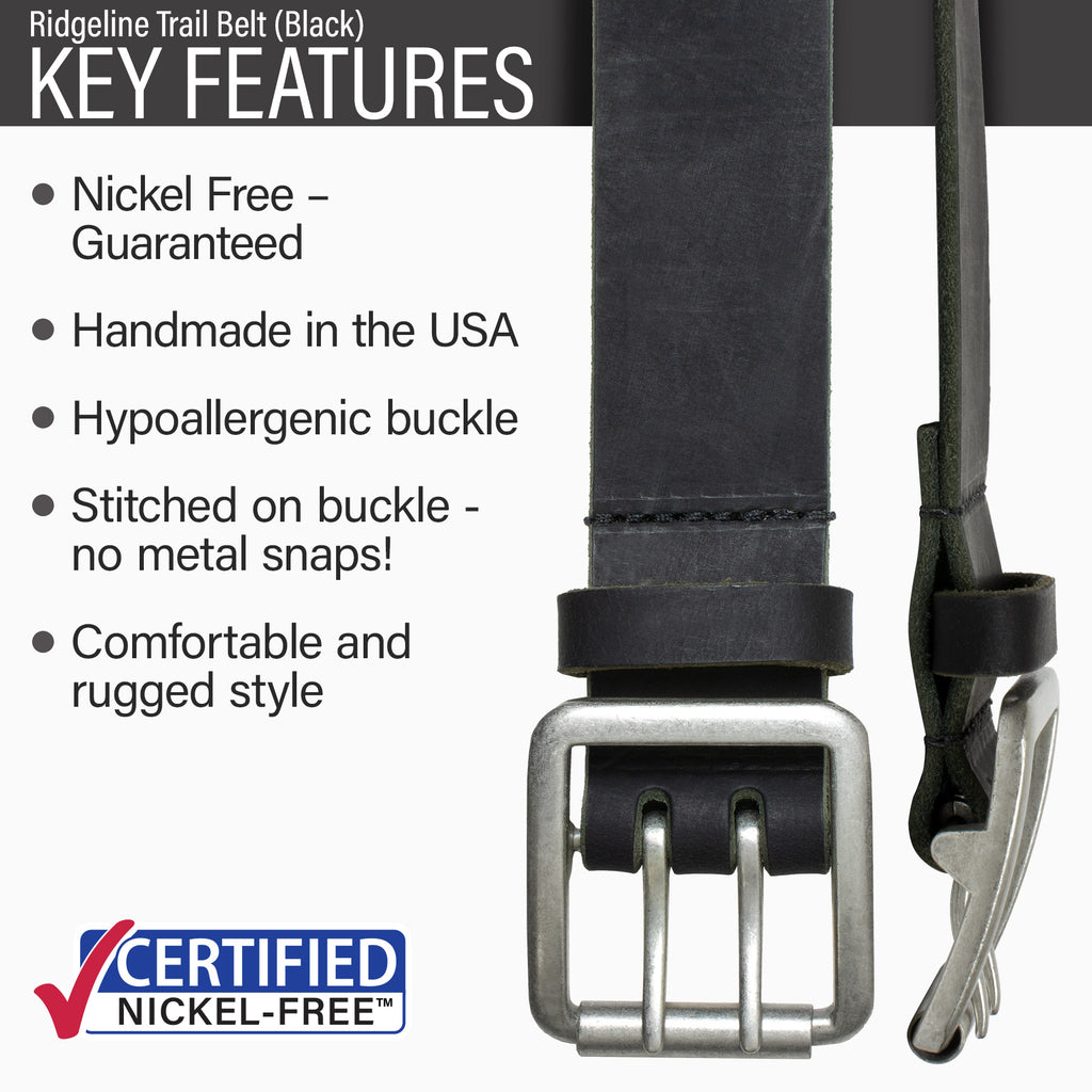 Key features of Ridgeline Trail Nickel Free Black Leather Belt | Hypoallergenic buckle, made in the USA, stitched on nickel-free buckle, rugged style