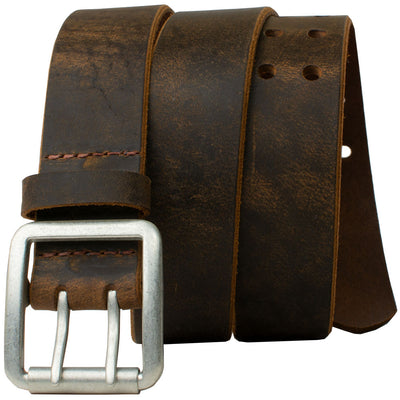 Ridgeline Trail Distressed Leather Belt (Brown) by Nickel Smart®