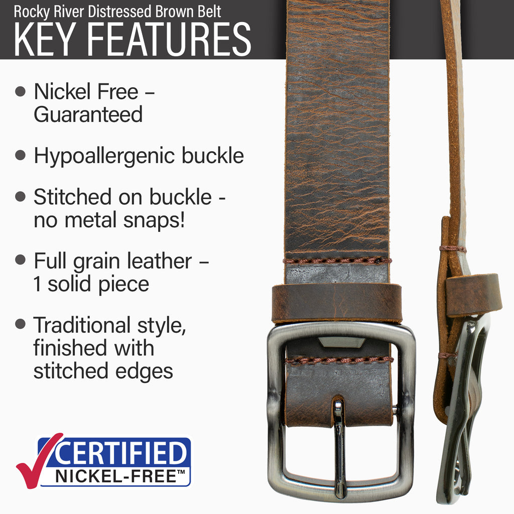 Key features of Rocky River Nickel Free Brown Distressed Leather Belt | Hypoallergenic buckle, stitched on nickel-free buckle, full grain leather, traditional style, functional bottle opener buckle