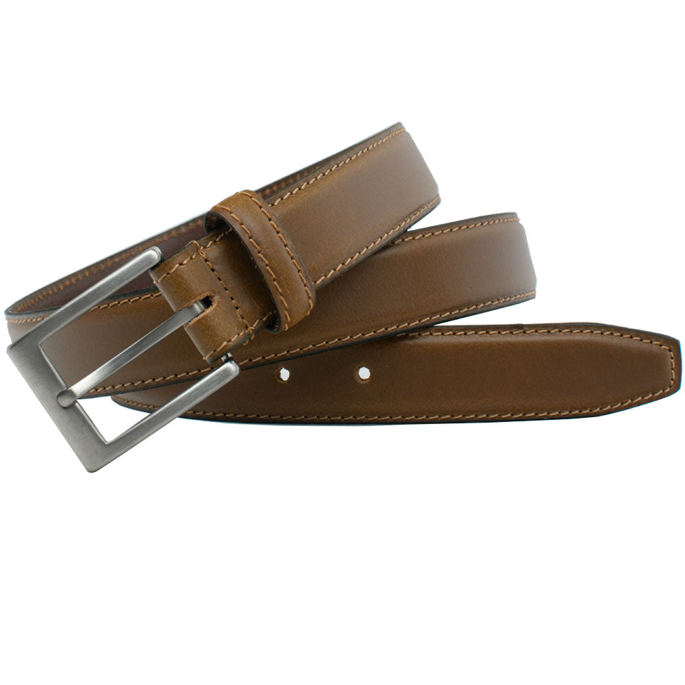 Silver Square Titanium Tan Belt by Nickel Smart, nonickel.com, nickel free