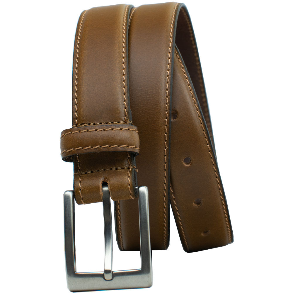 Silver Square Titanium Tan Belt by Nickel Smart, nonickel.com, dress belt, casual belt, work belt