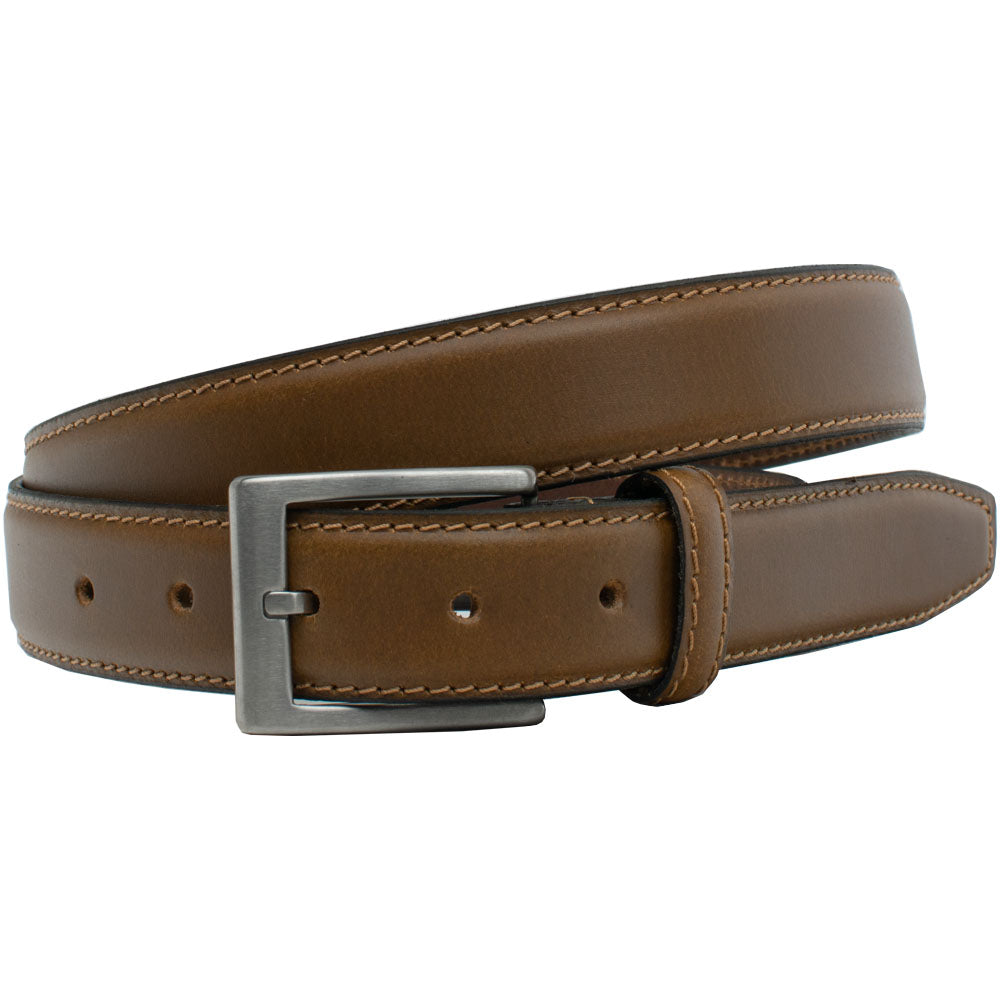 Silver Square Titanium Tan Belt by Nickel Smart, nonickel.com, hypoallergenic, made in the USA