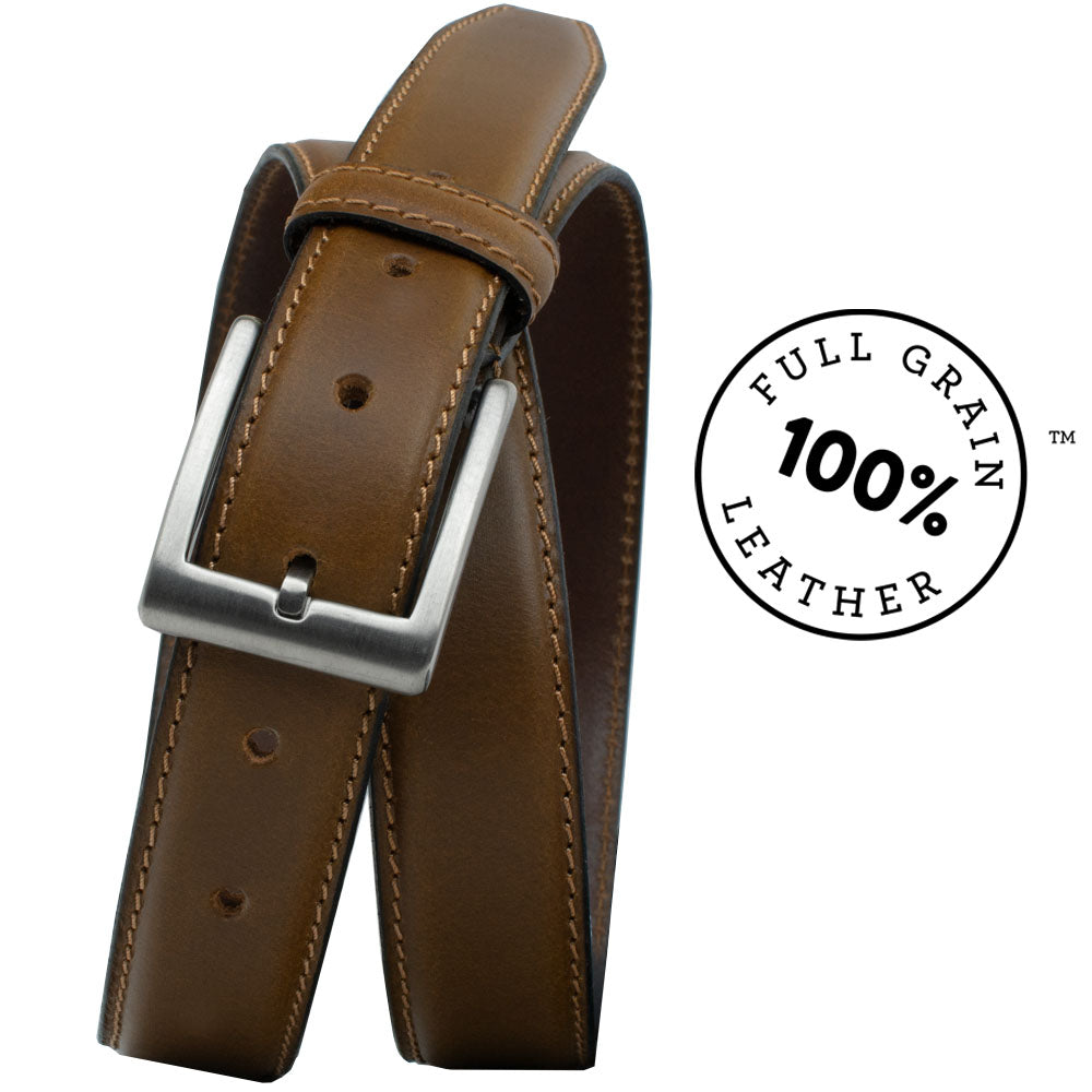 Silver Square Titanium Tan Belt by Nickel Smart, nonickel.com, full grain leather, titanium buckle