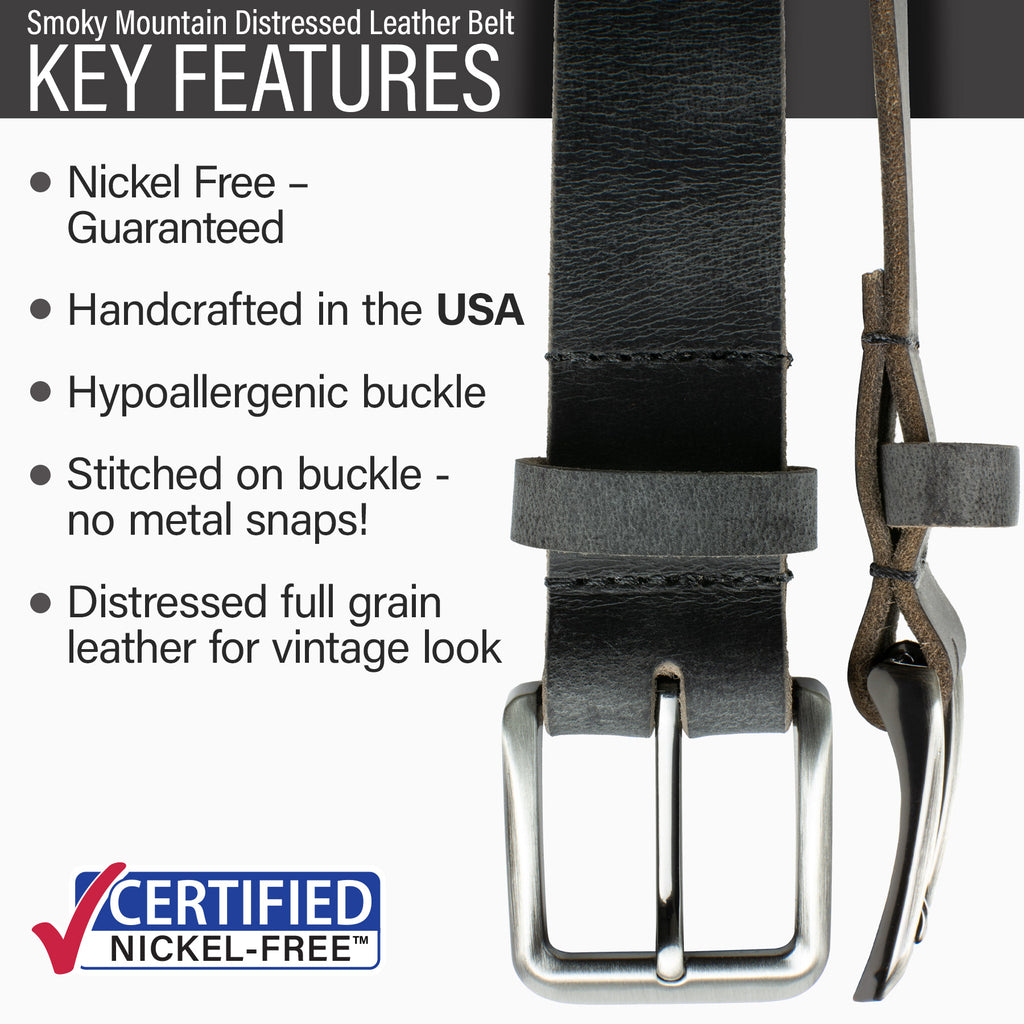 Nickel Free Smoky Mountain Distressed Belt | Made in USA | Distressed Gray Leather | Genuine Leather