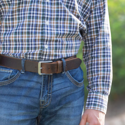 Distressed Leather Brown Belt Strap with Titanium Buckle.  Mt. Pisgah Distressed Titanium Belt