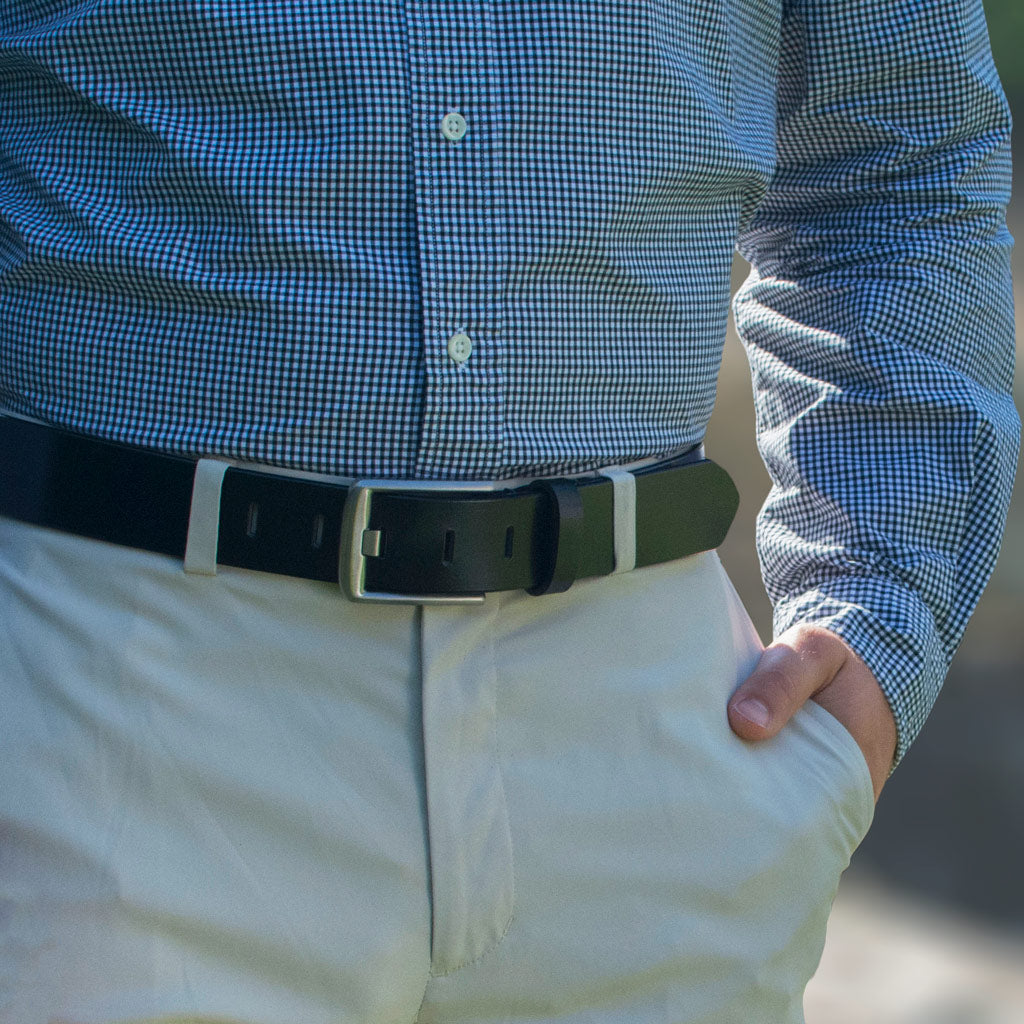 Titanium Wide Pin Black Belt By Nickel Smart® | Nonickel.com, dress belt, casual belt