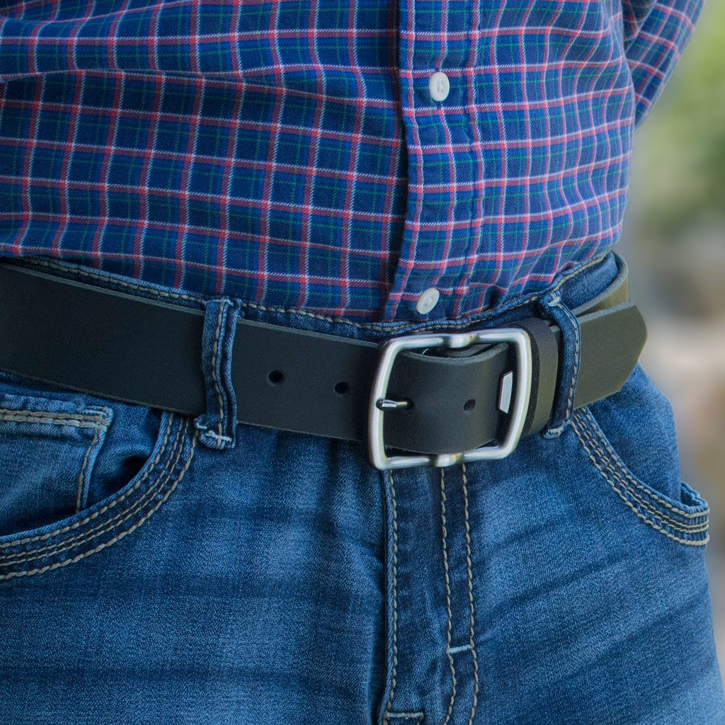 Cold Mountain Belt (Black With Gray Buckle) By Nickel Smart® | Nonickel.com, genuine leather