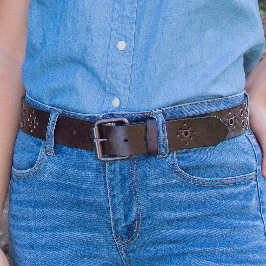 Nickel Free Women's Brown Leather Belt with grommet accents