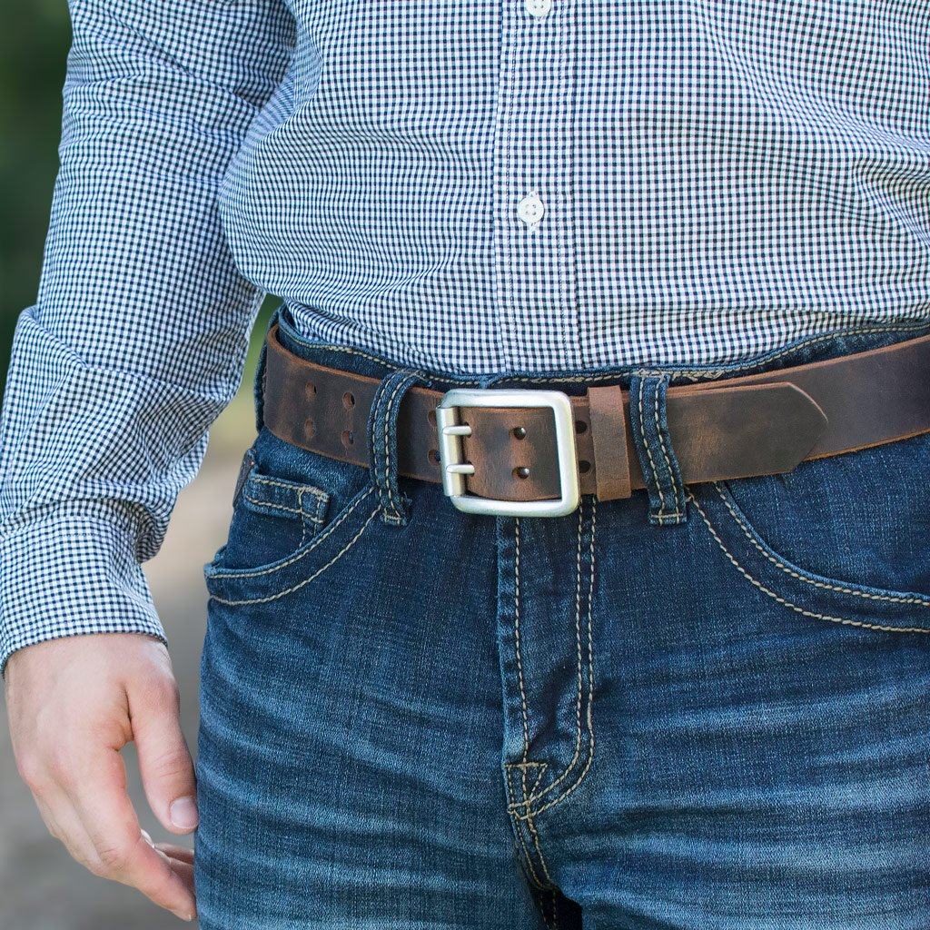 Nickel Free Belt - Distressed Leather Ridgeline Trail Belt Set By Nickel Smart® | Nonickel.com