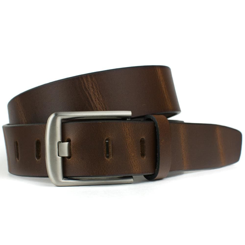 Brown Wide Pin Belt By Nickel Smart® | Nonickel.com, genuine leather, made in the USA