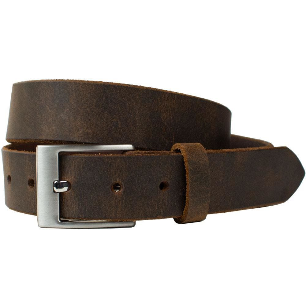 Caraway Mountain Distressed Brown Leather Belt By Nickel Smart® | Nonickel.com, hypoallergenic