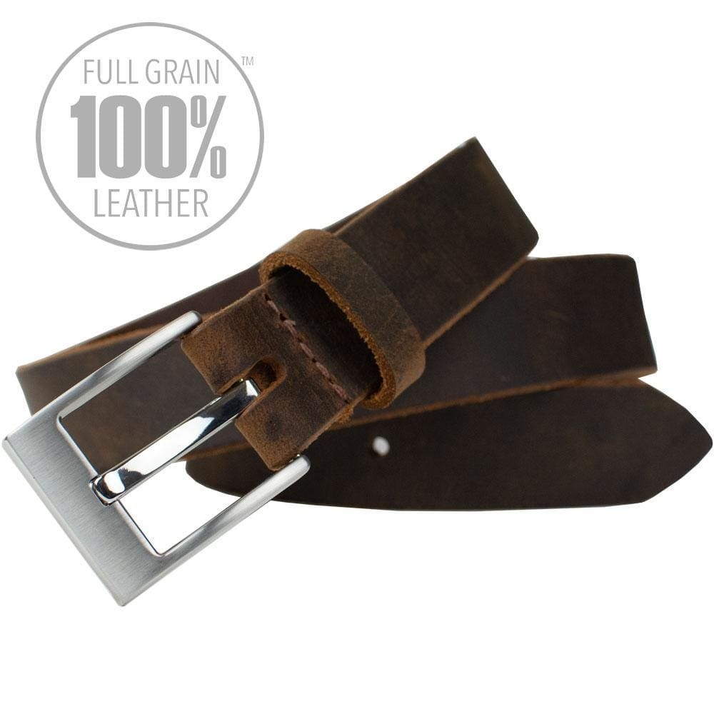 Caraway Mountain Distressed Brown Leather Belt By Nickel Smart® | Nonickel.com, full grain leather