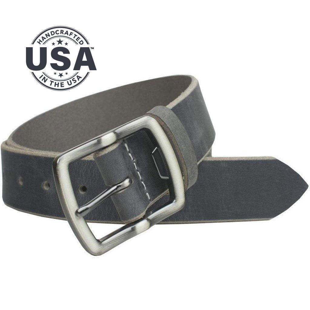 Cold Mountain Distressed Leather Belt (Gray) By Nickel Smart® | Nonickel.com, made in the USA