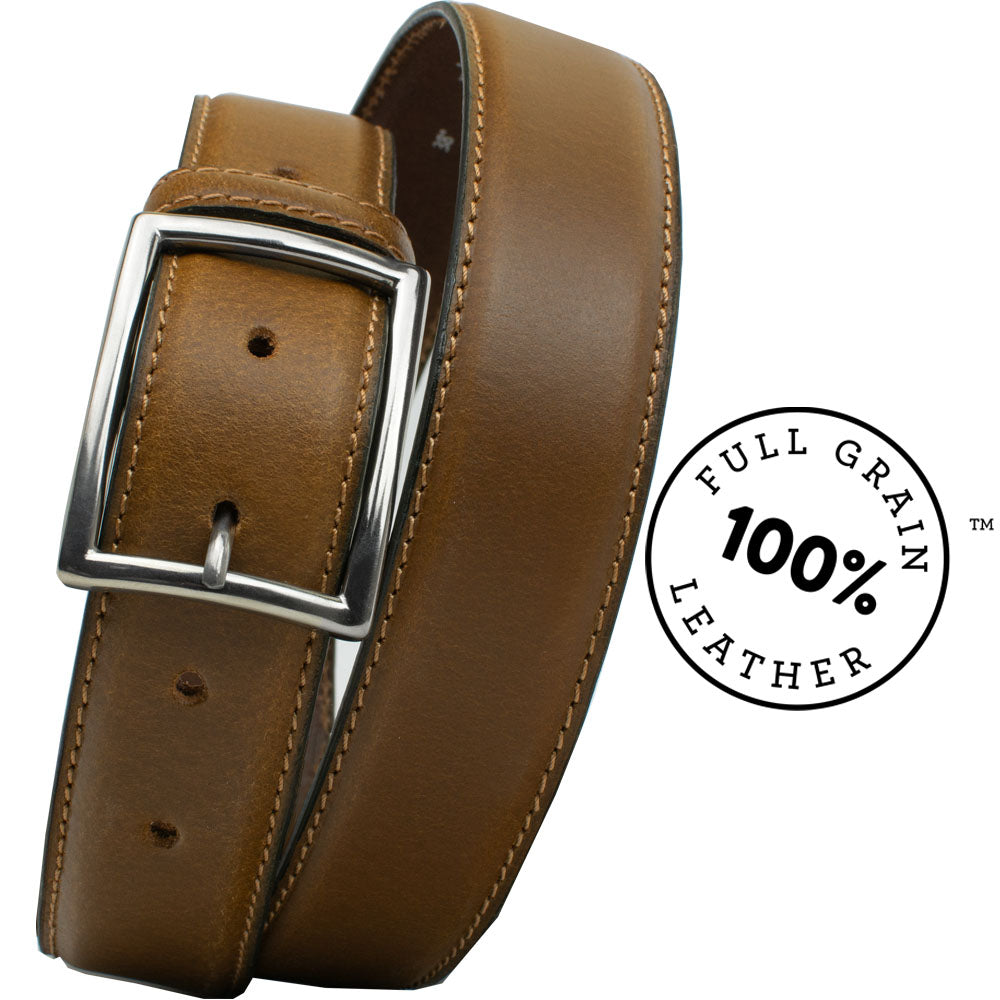 The Entrepreneur Titanium Belt (Tan) by Nickel Smart, nonickel.com, made from full grain leather