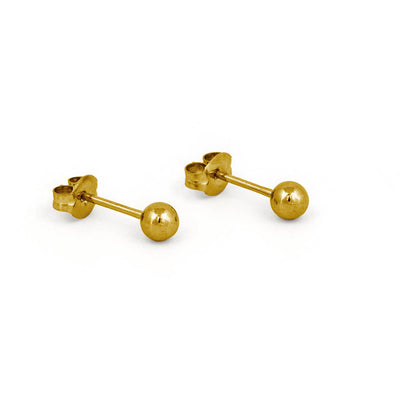 Stainless Steel Ball Earrings - Gold by Nickel Smart®
