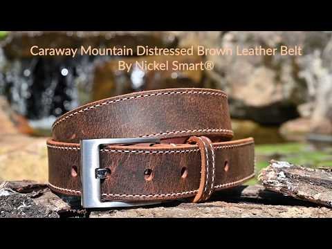 Caraway Mountain Distressed Brown Leather Belt (stitched) by Nickel Smart, nonickel.com,
