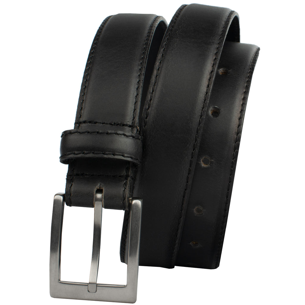 Silver Square Titanium Black Belt, nonickel.com, Black dress belt, hypoallergenic