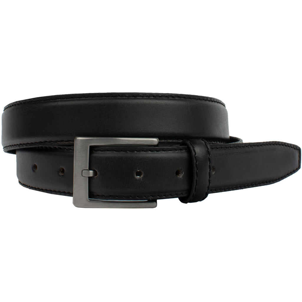 Silver Square Titanium Black Belt, nonickel.com, dress belt, titanium buckle
