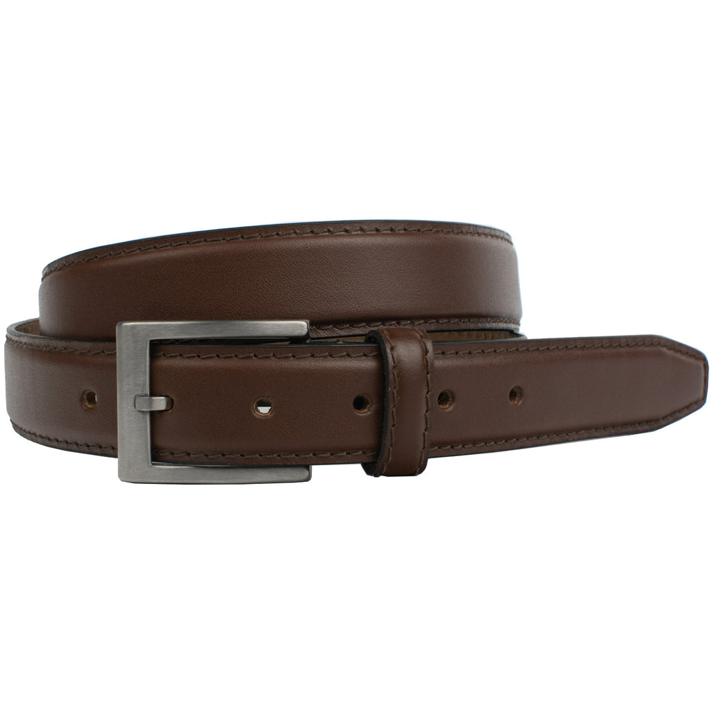 Silver Square Titanium Brown Belt by Nickel Smart by Nickel Smart, nonickel.com, titanium buckle
