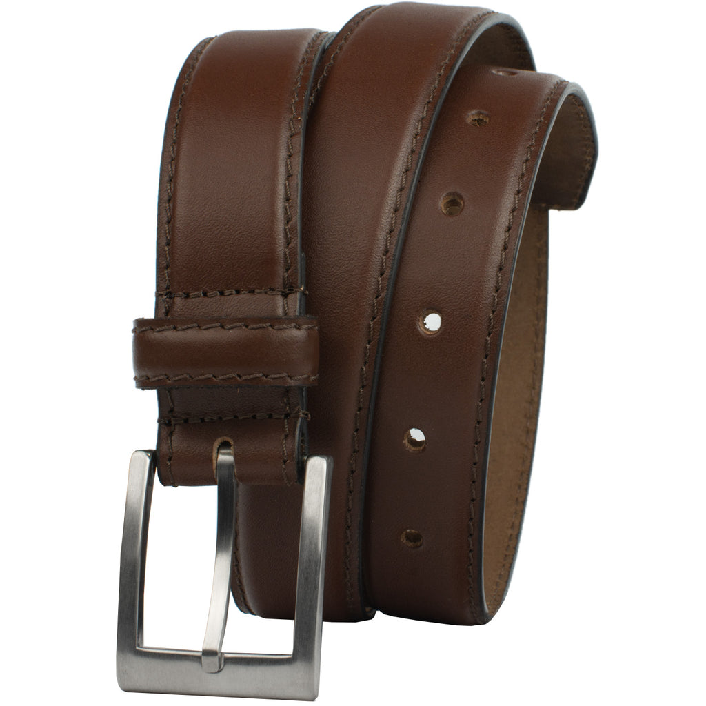 Silver Square Titanium Brown Belt by Nickel Smart, nonickel.com, genuine leather, made in the USA