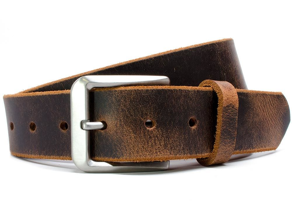 Nickel Free Belt - Mt. Pisgah Titanium Distressed Leather Belt By Nickel Smart® | Nonickel.com