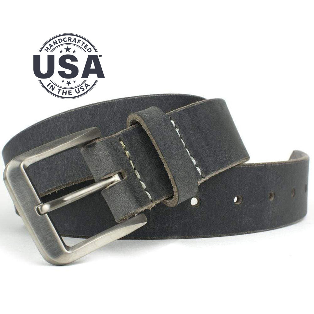 Smoky Mountain Titanium Distressed Leather Belt By Nickel Smart® | Nonickel.com, made in the USA