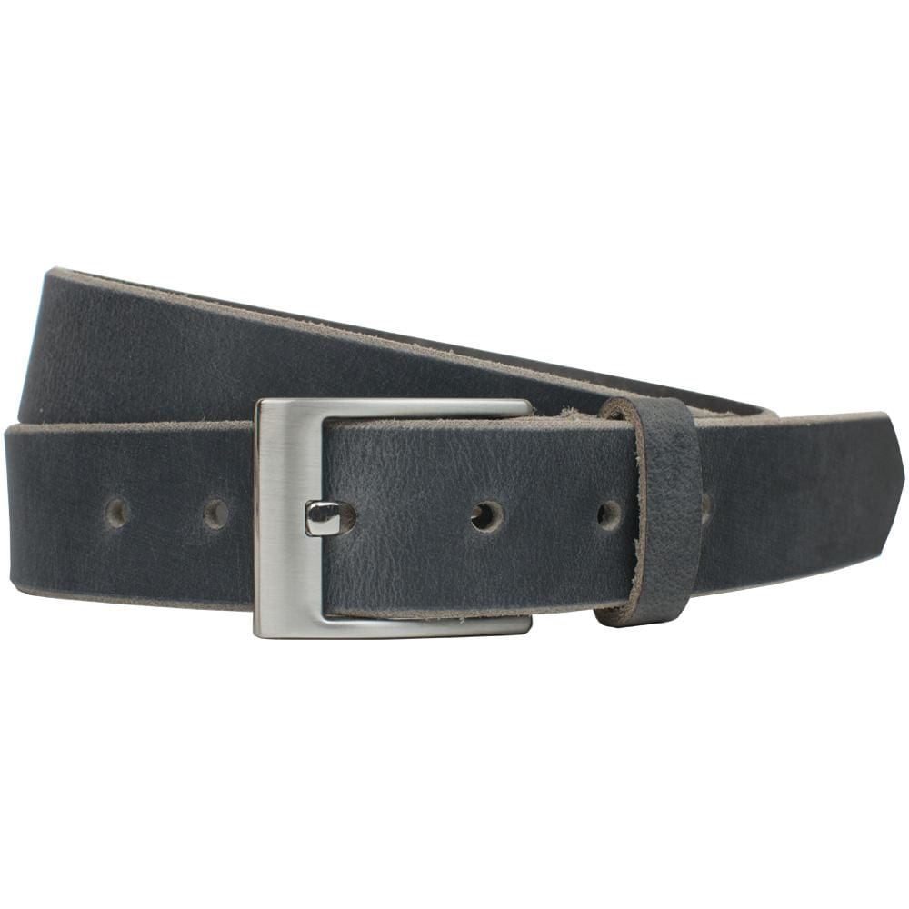 Square Wide Pin Distressed Leather Belt (Gray) By Nickel Smart® | Nonickel.com, genuine leather