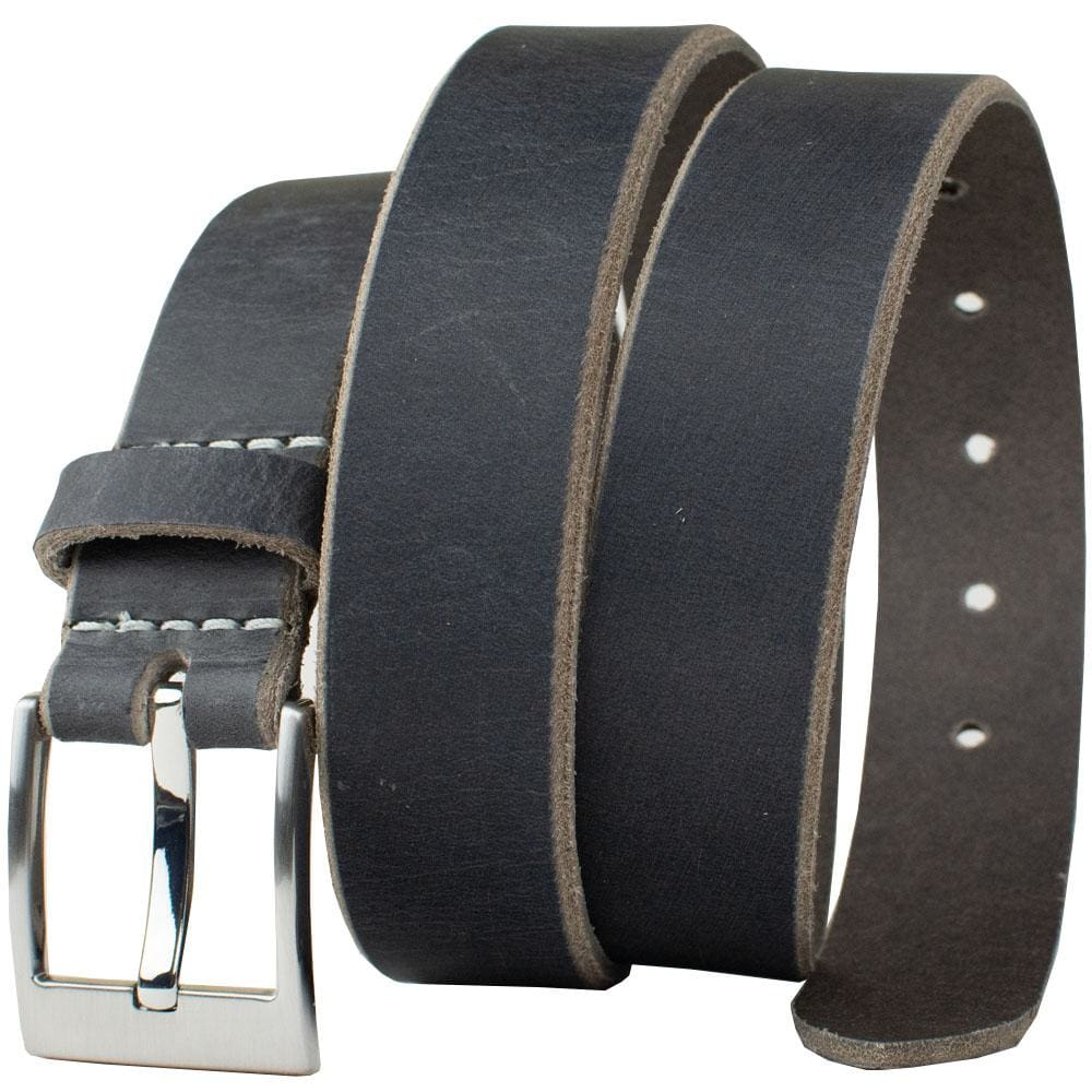 Square Wide Pin Distressed Leather Belt (Gray) by Nickel Smart® - 34 inch / Gray