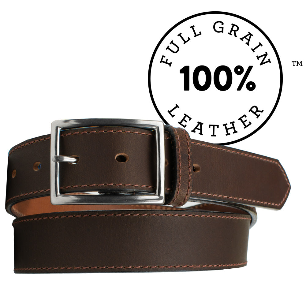 The Entrepreneur Titanium Belt (Brown) by Nickel Smart, nonickel.com, made from full grain leather