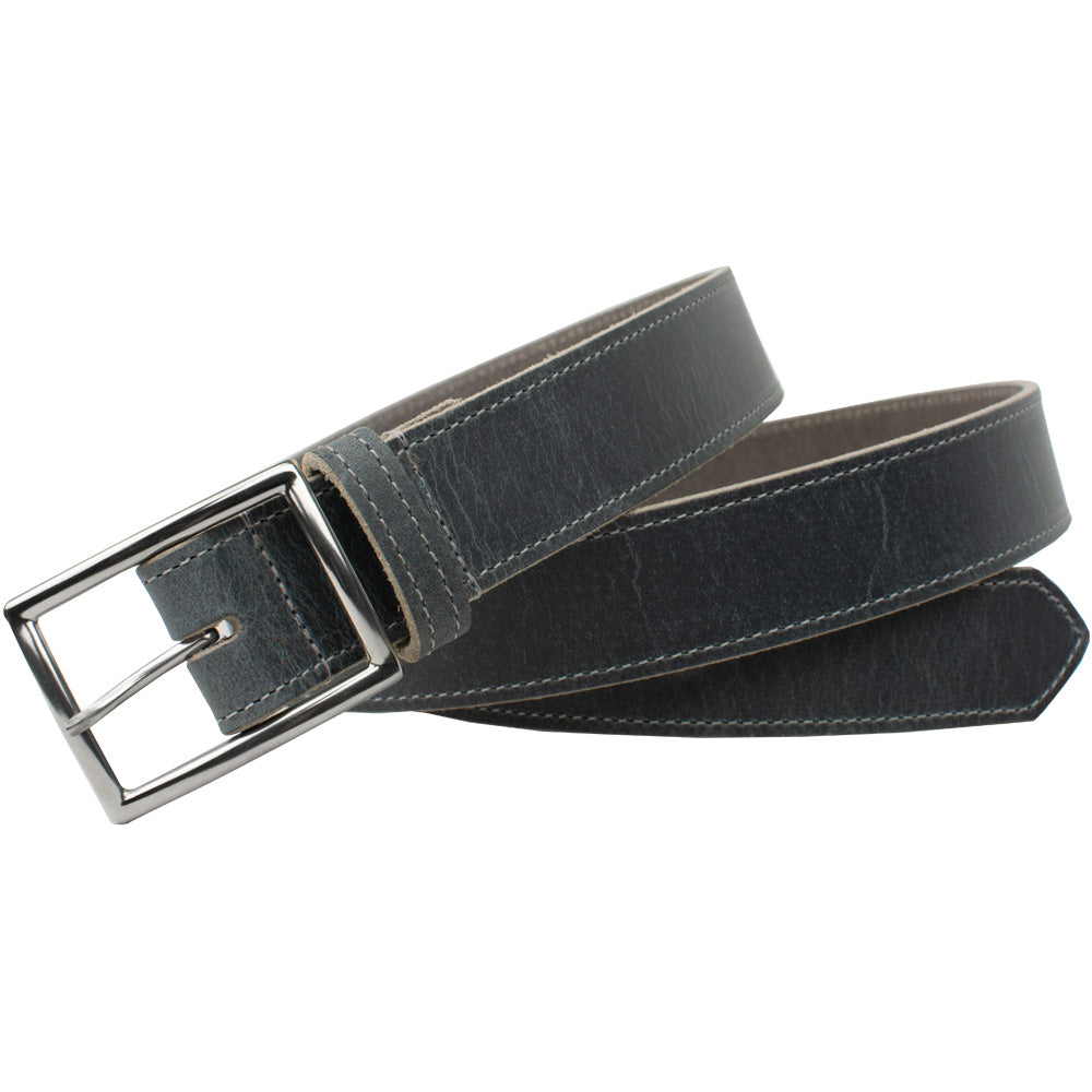 The Entrepreneur Titanium Belt (Distressed Gray) by Nickel Smart, nonickel.com, full grain leather