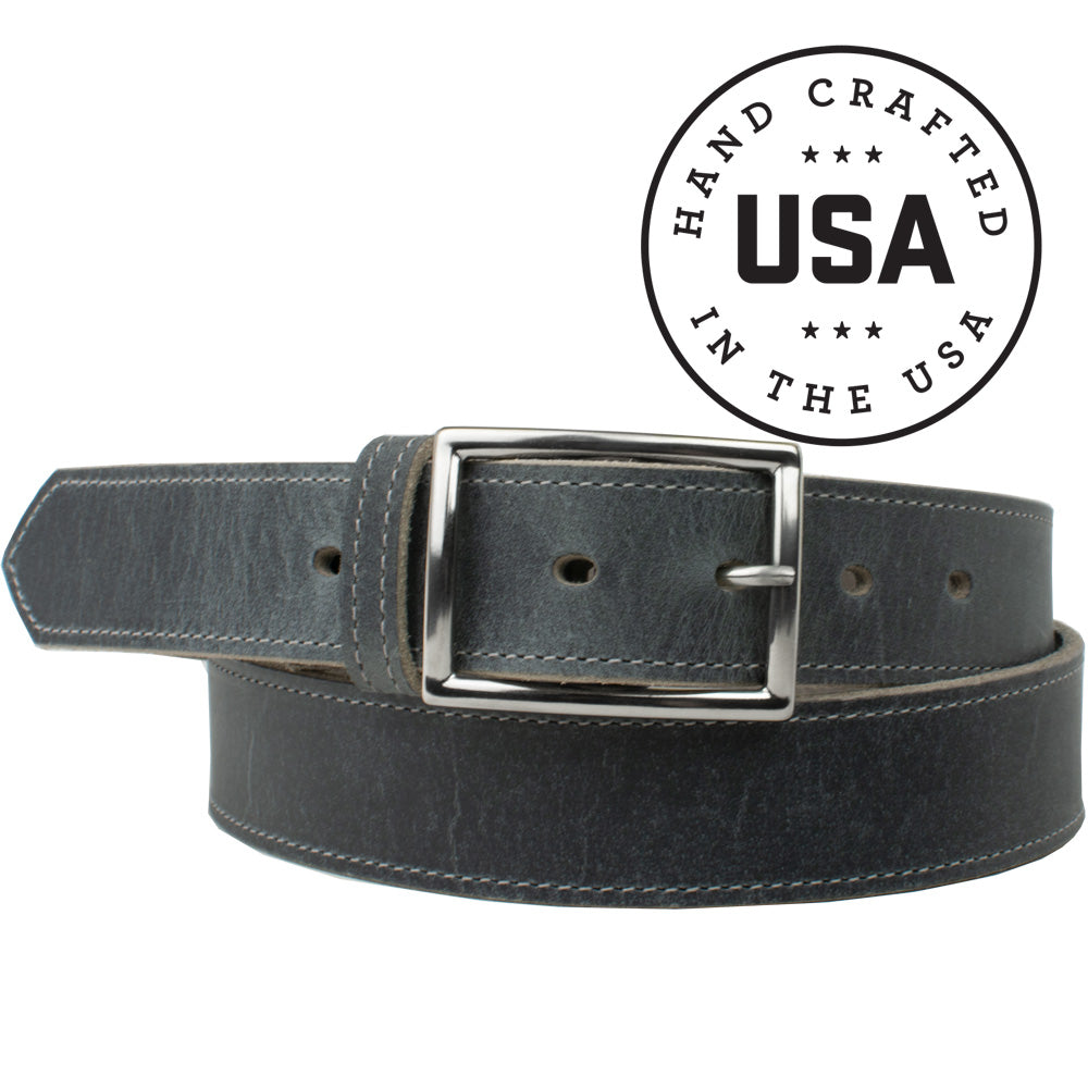The Entrepreneur Titanium Belt (Distressed Gray) by Nickel Smart, nonickel.com, made in the USA