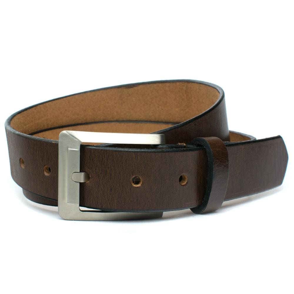 Titanium Dress Brown Belt By Nickel Smart® | Nonickel.com, nickel free, genuine leather