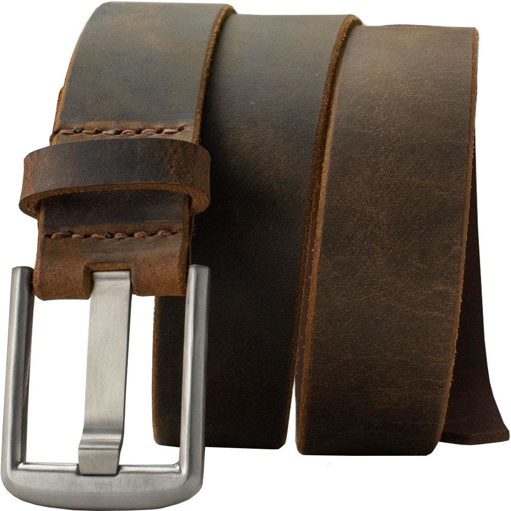 Nickel Free Belt - Titanium Wide Pin Distressed Leather Belt By Nickel Smart® | Nonickel.com