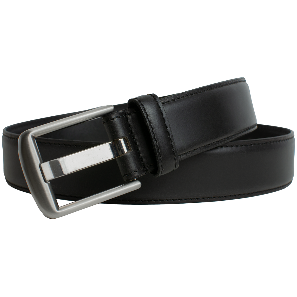 Nickel-Free Black Wide Pin Belt by Nickel Smart | Black leather belt with a raised center and stitched edges