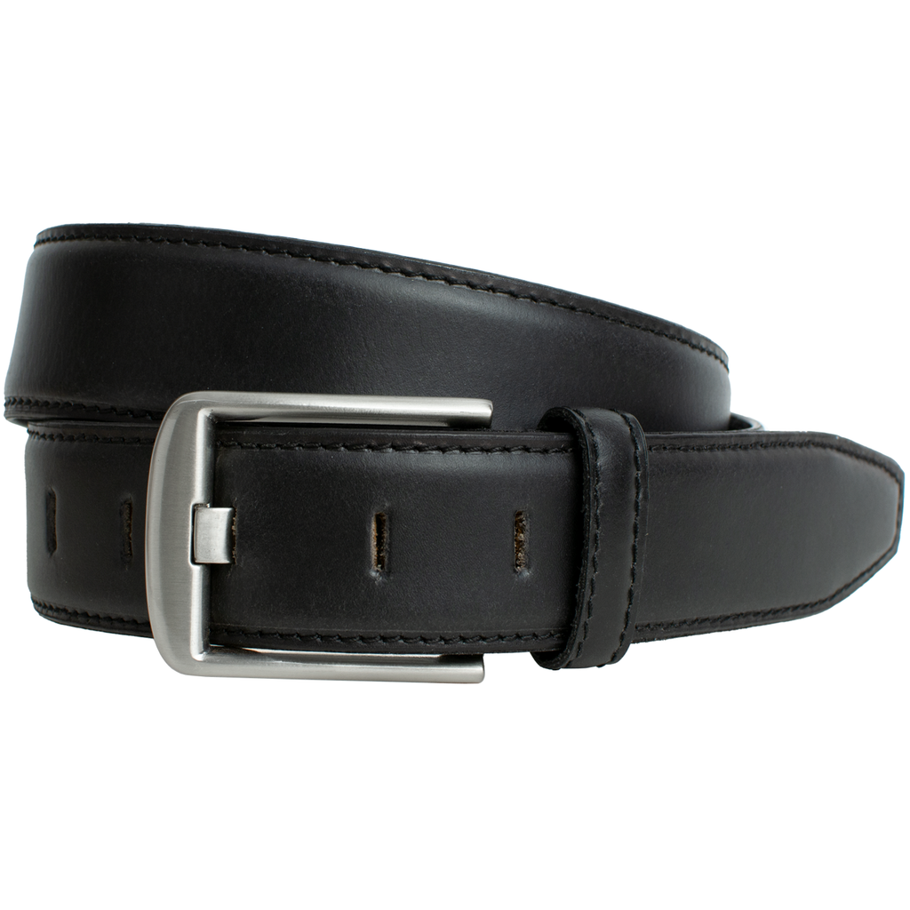 Black Wide Pin Belt || Men's dress belt with a wide pin buckle latched and coiled